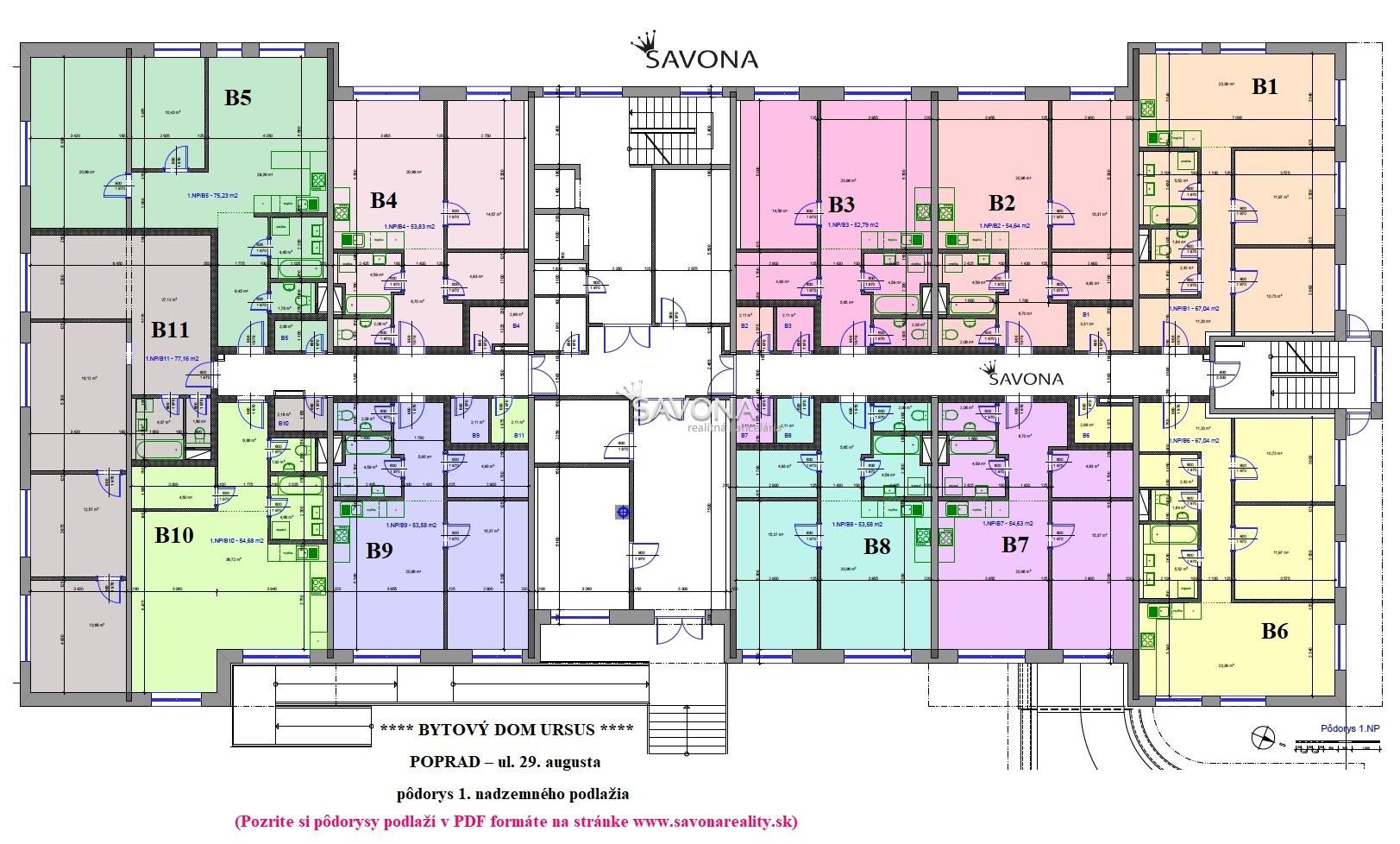 URSUS - PREDANÉ - všetky 3 izbové byty na 1. podlaží