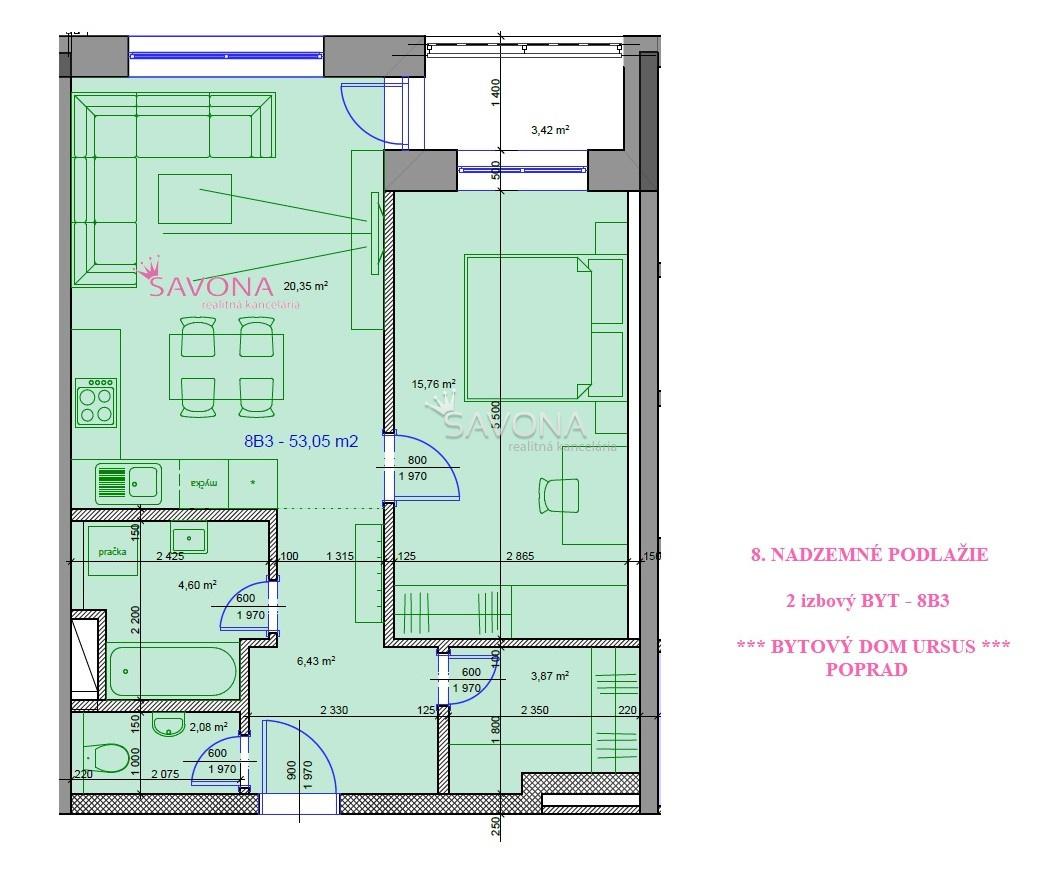 PREDANÉ - všetky 2 izbové byty URSUS - 8. podlažie