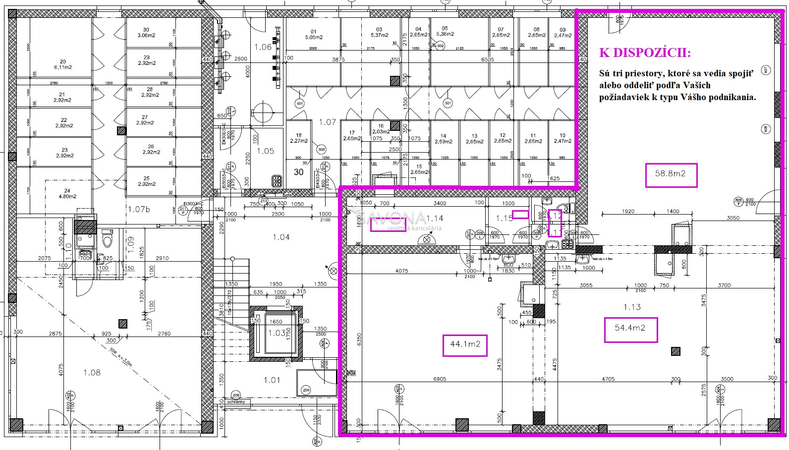 NA PRENÁJOM – PRIESTORY –  53 m2, 60 m2, 107 m2, 119 m2, 172 m2, v novostavbe polyfunkčného domu – SVIT